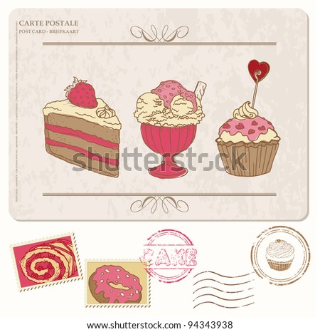 Set of cupcakes on old postcard with stamps - for design and scrapbook