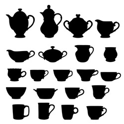 Set of cups and teapots isolated over white