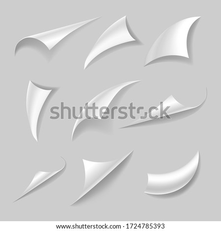 Set of curled page corner with realistic shadow. Paper edges and curls. Flipping book page, blank curling papers corners. Vector illustration isolated on grey background.