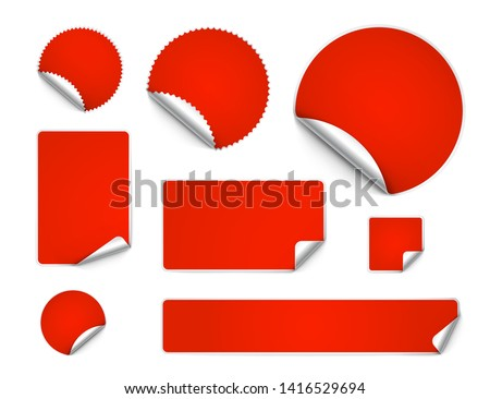 Set of curled stickers isolated on white background. Vector illustration. It can be use for price, promo, adv and etc.	 #1416529694