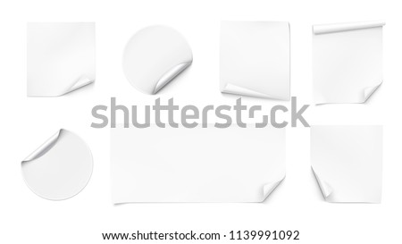 Set of curled stickers. Vector illustration isolated on white background. EPS10. #1139991092