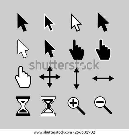 Set of cursor icons: arrow, hand, hourglass,magnifier.