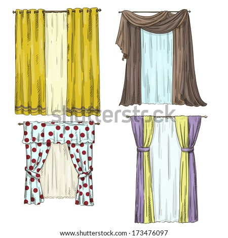 set of curtains interior details Cartoon style Vector illustration