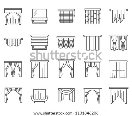 Set of curtains Related Vector Line Icons. Includes such icons as blind, gardin, portiere, drapery, window and more.