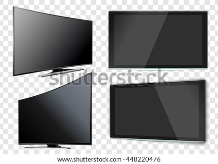 Set of Curved and Flat TV screen lcd, plasma. Realistic vector illustration.