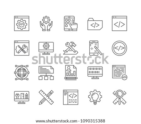Set of Custom Development outline icons isolated on white background. Editable stroke. 64x64 Pixel Perfect.