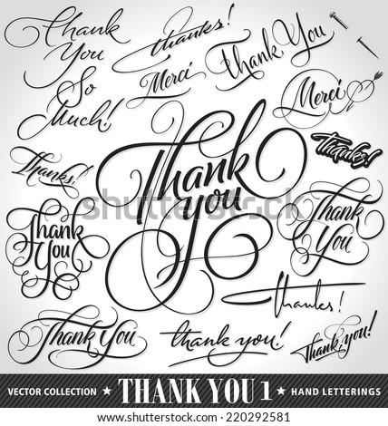 set of custom thank you hand