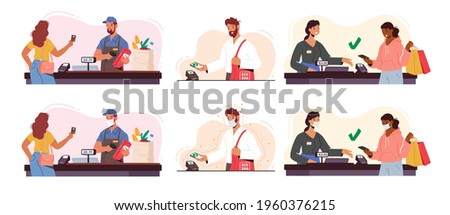 Set of Customer Characters Use Pos Terminal for Cashless Paying. Buyers Hold Credit Cards and Gadgets. People with Purchases at Cashier with Salesman, Noncontact Payment. Cartoon Vector Illustration
