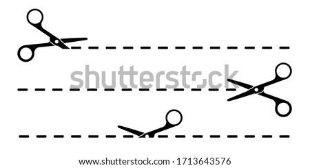 Set of cut lines with black scissors vector illustration