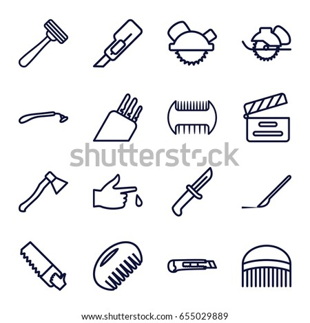 set of 16 cut outline icons