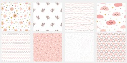 Set of cute abstract hand drawn pink seamless patterns Stripes flowers clouds cactus points vector background Childish irregular geometric lines Irregular dots in pink colors. Lovely pastel layouts.