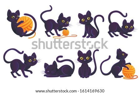 Set of cute adorable black cat playing with orange ball of wool cartoon animal design flat vector illustration on white background