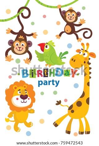 stock-vector-set-of-cute-african-animals-for-happy-birthday-design-lion-elephant-monkey-parrot-giraffe