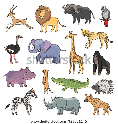 set of cute african animals for