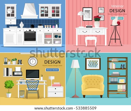Set Of Cute And Colorful Graphic Interior Design Room Types With Furniture Kitchen Living