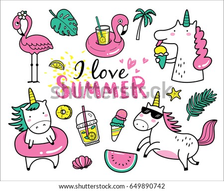 Set of cute and fun summer stickers/ badges/ icons/ patches/ design elements.