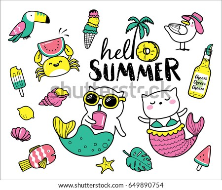 set of cute and fun summer