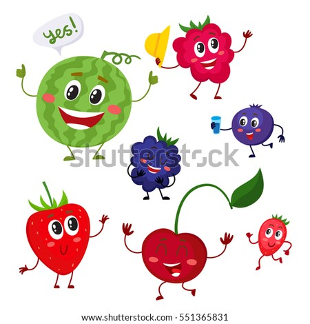 Set of cute and funny berry characters - watermelon, blackberry, strawberry, raspberry, blueberry, cherry, cartoon vector illustration isolated on white background. Comic style berry characters #551365831