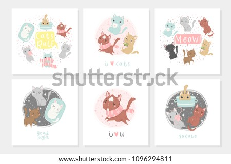 set of cute and funny cat cards