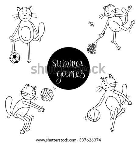 set of cute and funny cats who