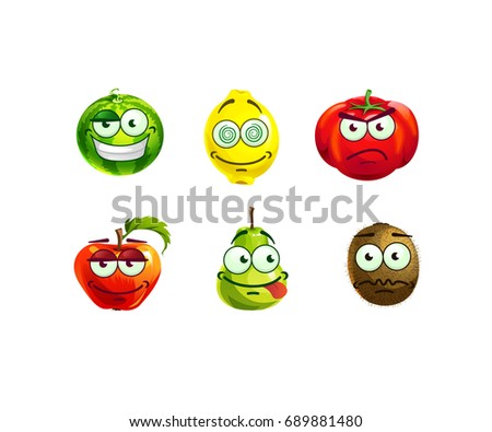 set of cute and funny fruits