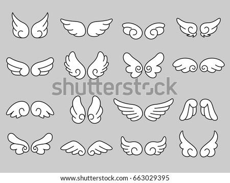 set of cute angel wing