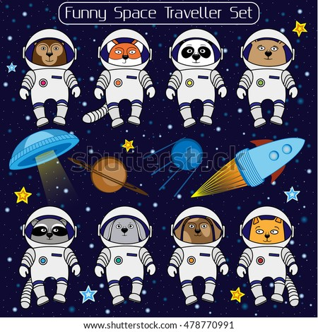 set of cute animal astronauts