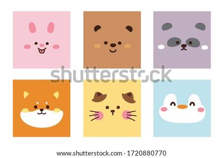 Set of cute animal face hand drawn.Cartoon doodle collection.Rabbit,bear,panda,shiba inu dog,cat,penguin.Kawaii.Colorful.Image for card,poster,baby cloth,sticker.Vector.Illustration.