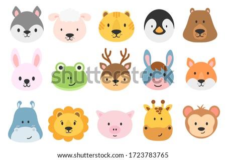 Set of cute animal heads. Cartoon zoo. Collection of cute animal characters in cartoon style. Giraffe, rabbit, bear, monkey, hippo, sheep, pig, lion, penguin, tiger, donkey, frog, fox, deer. Vector.