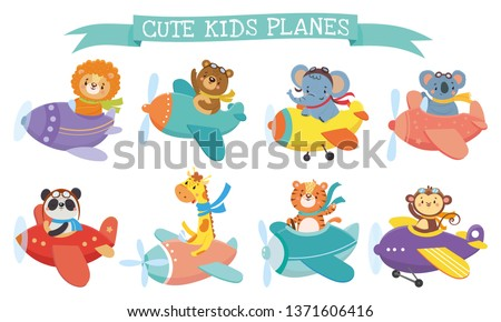 Set of cute animal on planes. Kids transport. Funny pilots. Giraffe, bear, tiger, elephant, monkey, lion, panda, koala. Vector illustration