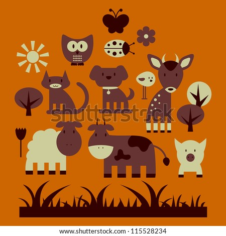 Set of cute animals and nature elements