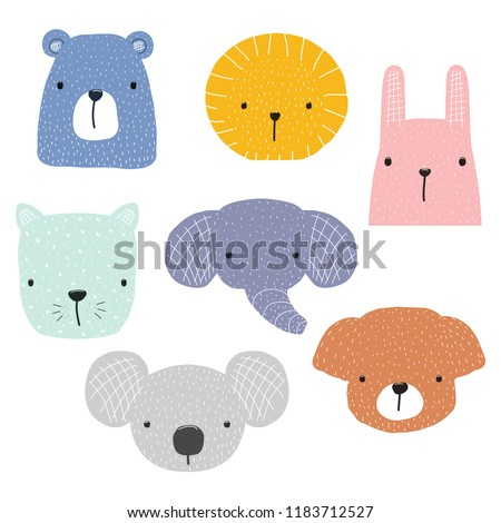 stock-vector-set-of-cute-animals-faces-for-childish-design-vector-hand-drawn-illustration
