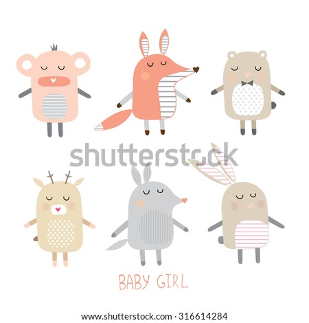 set of cute animals for girls