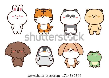 Set of cute animals hand drawn.Cartoon character design collection.Rabbit,tiger,panda,bear,dog,penguin,frog doodle.Kid graphic.Kawaii concept.Vector.Illustration
