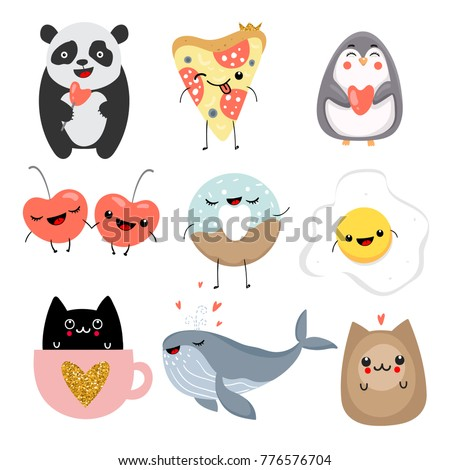 Set of cute animals in kawaii style. Vector illustration.