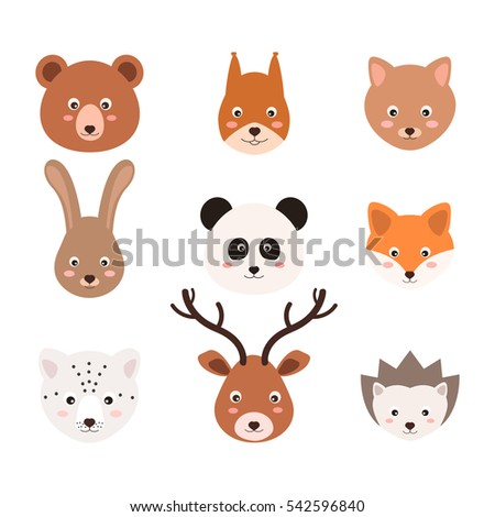 Set of cute animals in vector