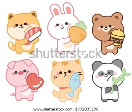 Set of cute animals on white background.Character design.Shiba inu dog,rabit,bear,pig,cat,panda cartoon.Sticker.Collection.Kid graphic.Kawaii.Vector.Illustration.