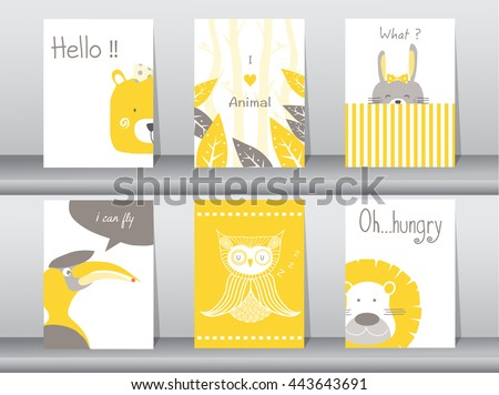 set of cute animals poster