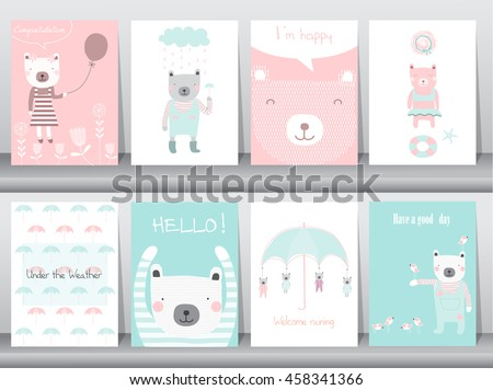 Set of cute animals poster,template,cards,bear,Vector illustrations