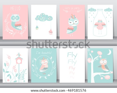 Set of cute animals poster,template,cards,owls,Vector illustrations