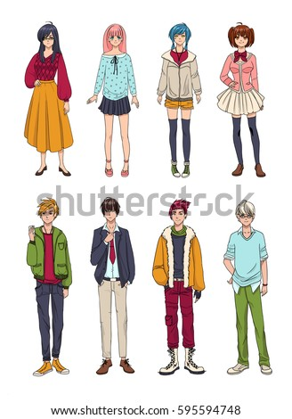 set of cute anime characters