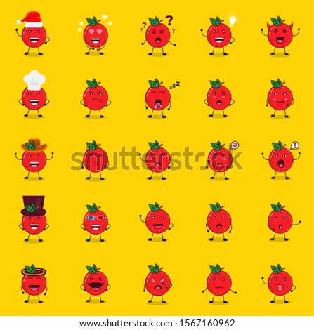set of cute apple mascot