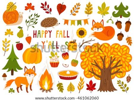 set of cute autumn cartoon