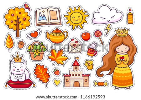 Set of cute autumn stickers. Kawaii little princess with crown and coffee, leaves, cat, sun, castle. Fall. Vector illustration.  #1166192593