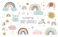 Set of cute baby and kids graphics, illustrations in Scandinavian style. Rainbow, cloud, star, elephant, rain, bunny, prince, crown, sun, sky. Posters, greeting cards, invitations, clothing.