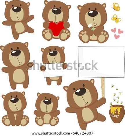 set of cute baby bears posing