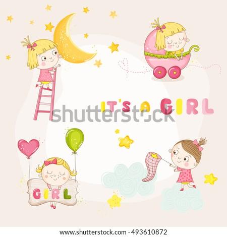 set of cute baby girl