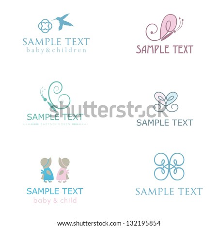 Set of cute baby icons in pastel colors.