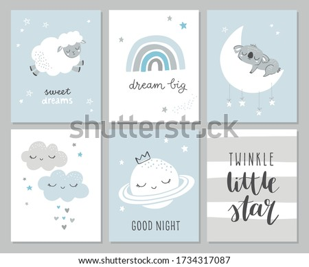 set of cute baby shower cards