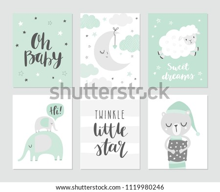 stock-vector-set-of-cute-baby-vector-illustations-for-nursery-or-baby-shower-moon-clouds-stars-elephants